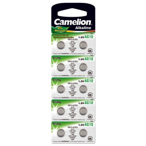 Camelion Knopfzelle AG10, LR54, 389, LR1130, V10GA, 10-Pack