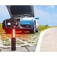 Arcas 3in1 LED Taschenlampe mit Magnet, Arbeitsleuchte, rotes Warnsignal