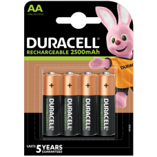 Duracell Rechargeable AA, Mignon, HR06 Akku 2500mAh, Akku 4-Pack