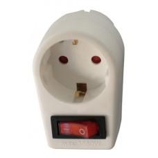 Arcas 1-fach Zwischenstecker Steckdose mit Schalter inkl. Kindersicherung