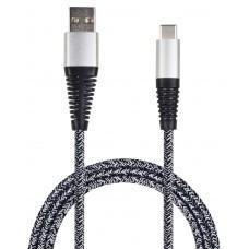 2GO USB Datenkabel USB auf USB-C Nylon Grau