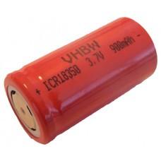 VHBW Akku-Zelle Li-Ion Typ 18350 900mAh, Flattop