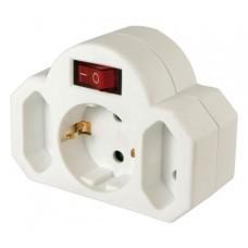 Arcas 3-fach Zwischenstecker, 1 x Schuko-, 2 x Eurostecker, mit Schalter und Kindersicherung