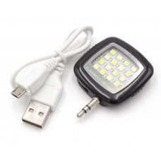 Externes Selfie-Licht, Lampe schwarz mit 16 LED's und integriertem Akku