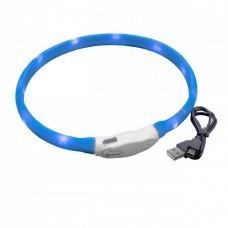 VHBW Hunde-Halsband mit LED's, blau, 50cm