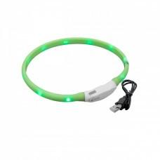 VHBW Hunde-Halsband mit LED's, grün, 50cm