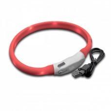 VHBW Hunde-Halsband mit LED's, rot, 35cm