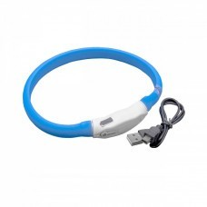 VHBW Hunde-Halsband mit LED's, blau, 35cm