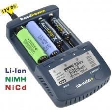 AccuPower Li-Ion / Ni-MH / Ni-Cd caricabatterie IQ328 + Display Funzione / scarico
