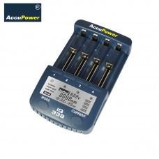 AccuPower LCD Caricabatteria IQ338 veloce con USB per Li-Ion / Ni-MH / Ni-Cd