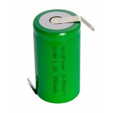 AccuPower Flat Top D / Mono NiMH batteria 1,2 V con capocorda a saldare a forma di Z.