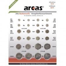 Juego de pilas de botón de 24 piezas alcalinas y de litio, diferentes tamaños