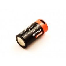 Celda cilíndrica 16340, CR123, Li-ion, 3.7V, 650mAh con puerto de carga USB