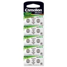 Pila de botón Camelion AG10, LR54, 389, LR1130, V10GA, paquete de 10