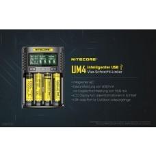 Cargador USB Nitecore UM4 para baterías Li-Ion, IMR, LiFePO4 (18650) NiMH / NiCd